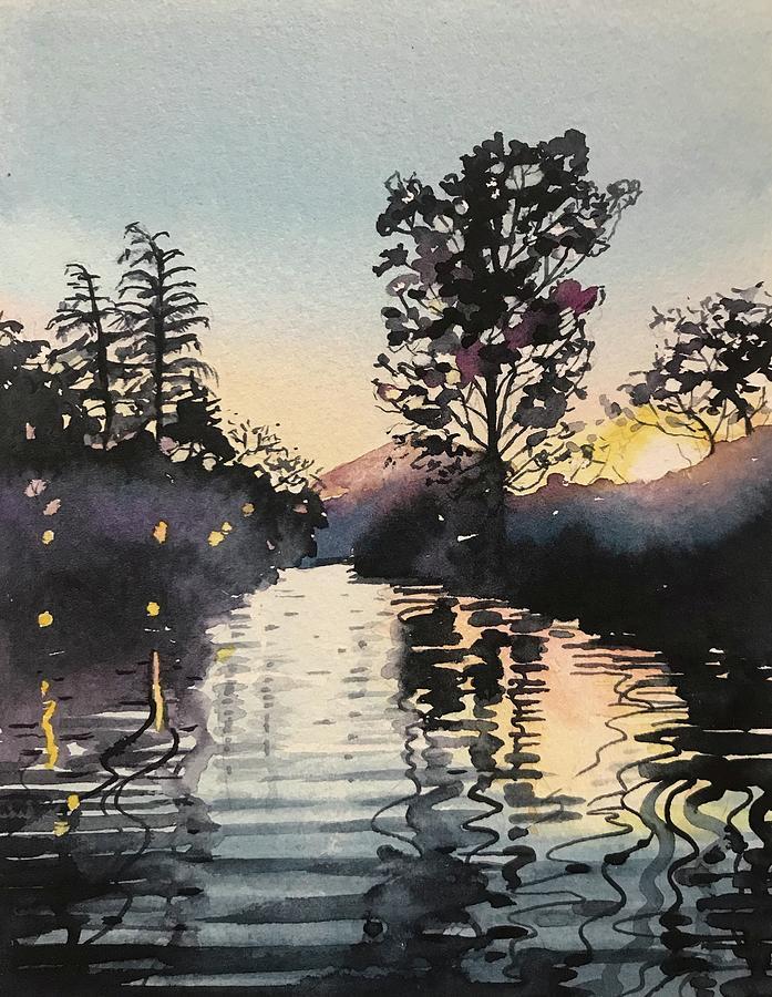 Sunset Over Rabbit Island At Malibou Lake Painting