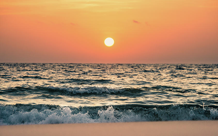 Sunset Over Seascape And Skyline With Photograph by D3sign