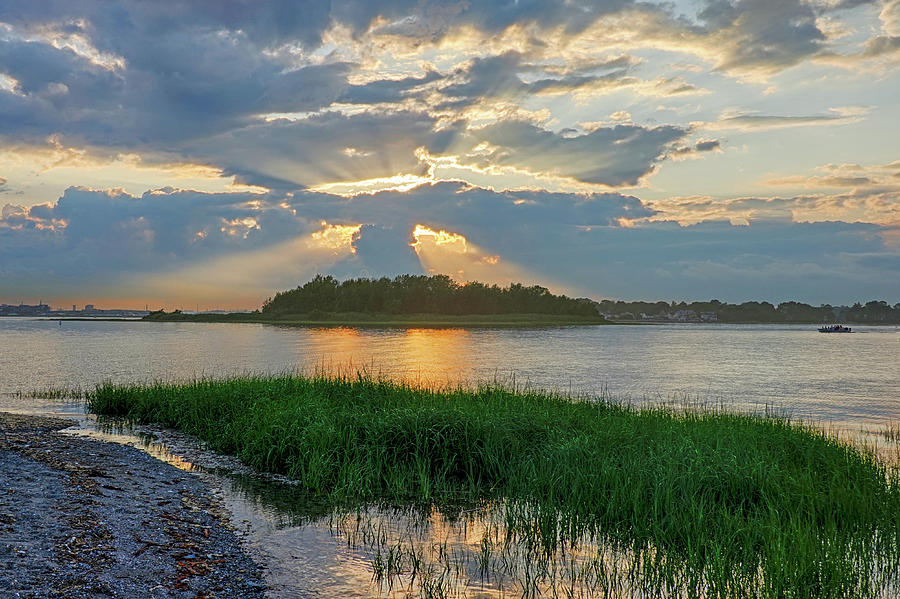 Sunset over Snake Island in Winthrop MA from Coughlin Park Green Grass by Toby McGuire