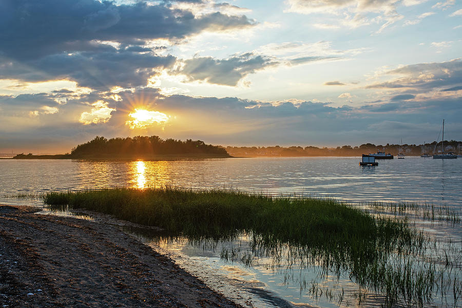 Sunset over Snake Island in Winthrop MA from Coughlin Park by Toby McGuire