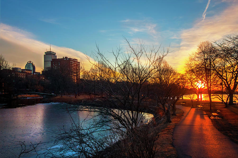 Sunset over the Charles River Esplanade by Joann Vitali