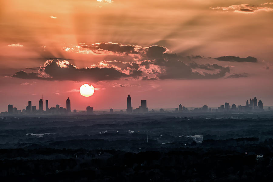 Sunset Over The Entire Atlanta Skyline Photograph