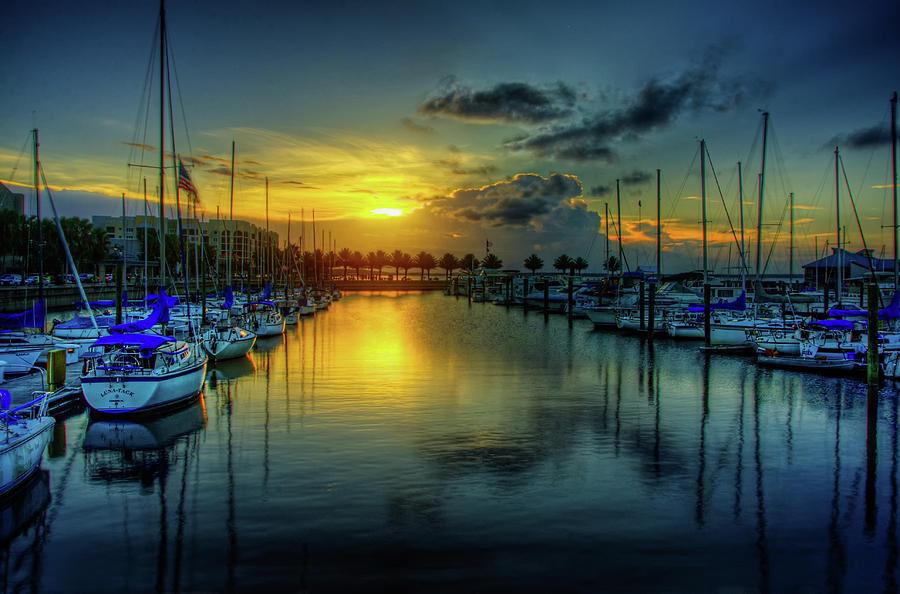Sunset over Lake Monroe Marina by Anna Yanev