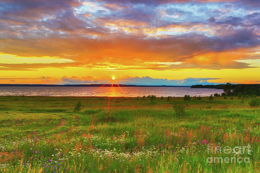 Sunset Over The River Kama Photograph
