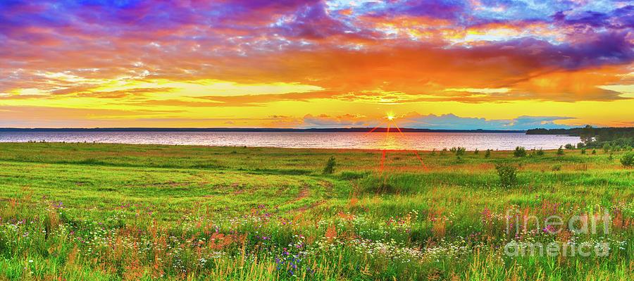 Sunset Over The River Kama. Panorama Photograph