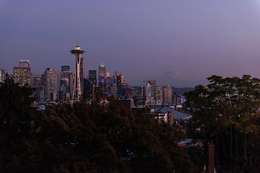 Sunset Over The Skyline Of The City Of Seattle With The Space Needle, Other Emblematic Buildings And Photograph