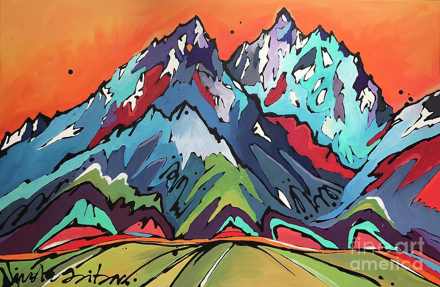 Tetons Painting - Sunset Over the Tetons by Nicole Gaitan