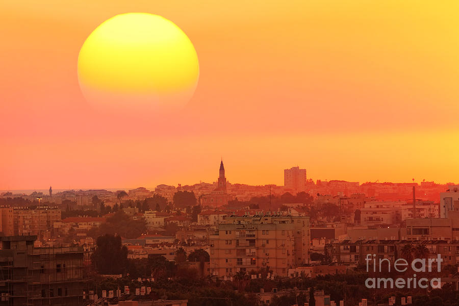 Capital Photograph - Sunset Over The Town.old City Of Tel by Protasov An