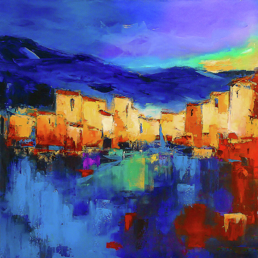 Cinque Terre Painting - Sunset Over the Village by Elise Palmigiani
