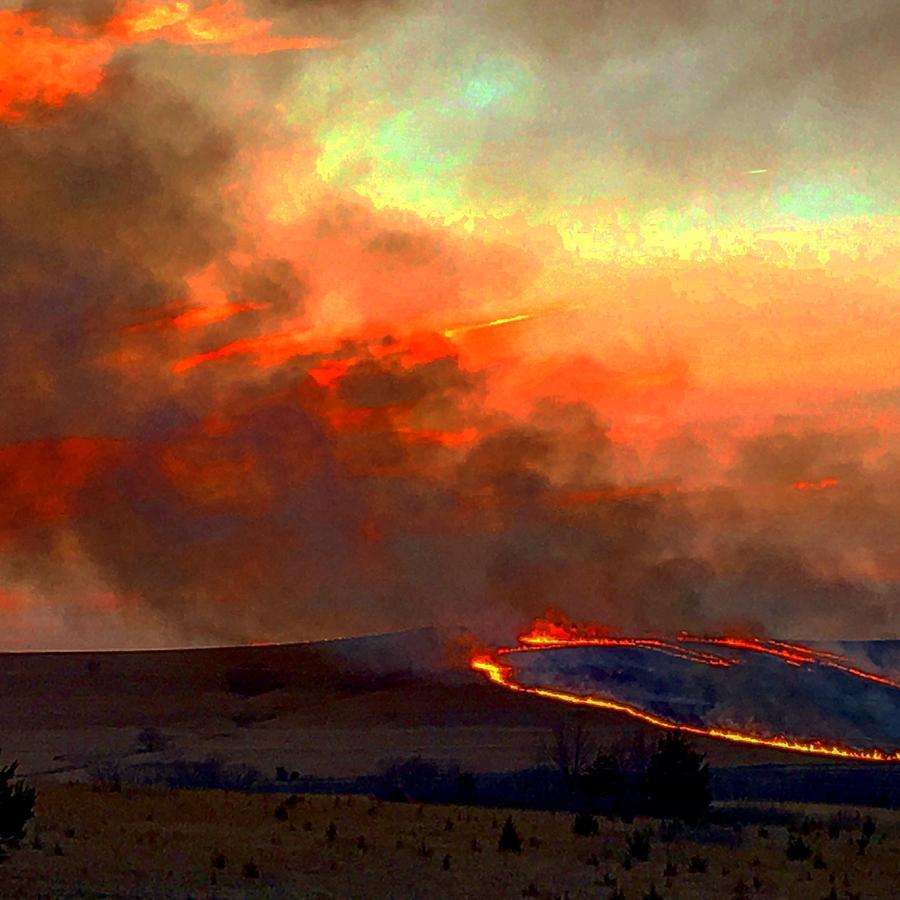 Sunset Prairie Burn by Michael Oceanofwisdom Bidwell