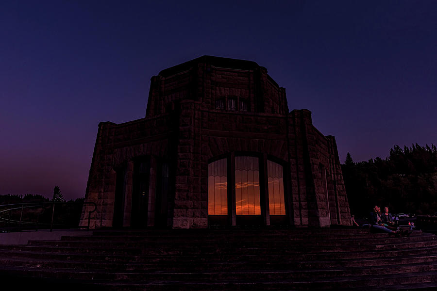 Sunset reflected in Vista House, Crown Point by Johanna Froese