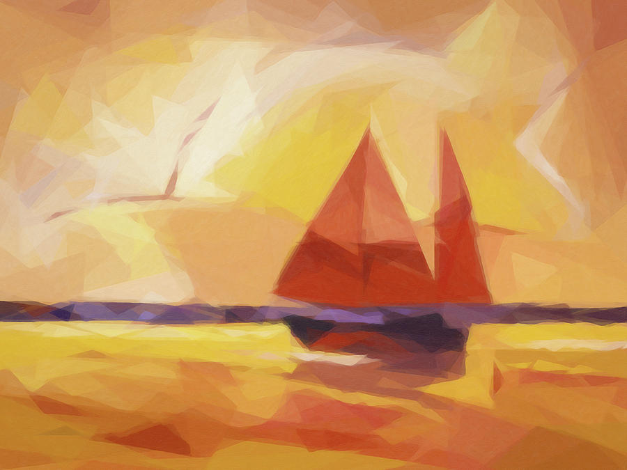 Sails Painting - Sunset Sails Graphic by Lutz Baar