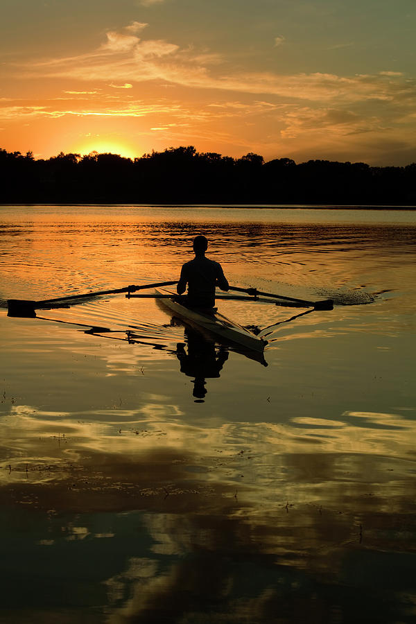 Sunset Sculling In Minneapolis Minnesota Photograph by Yinyang