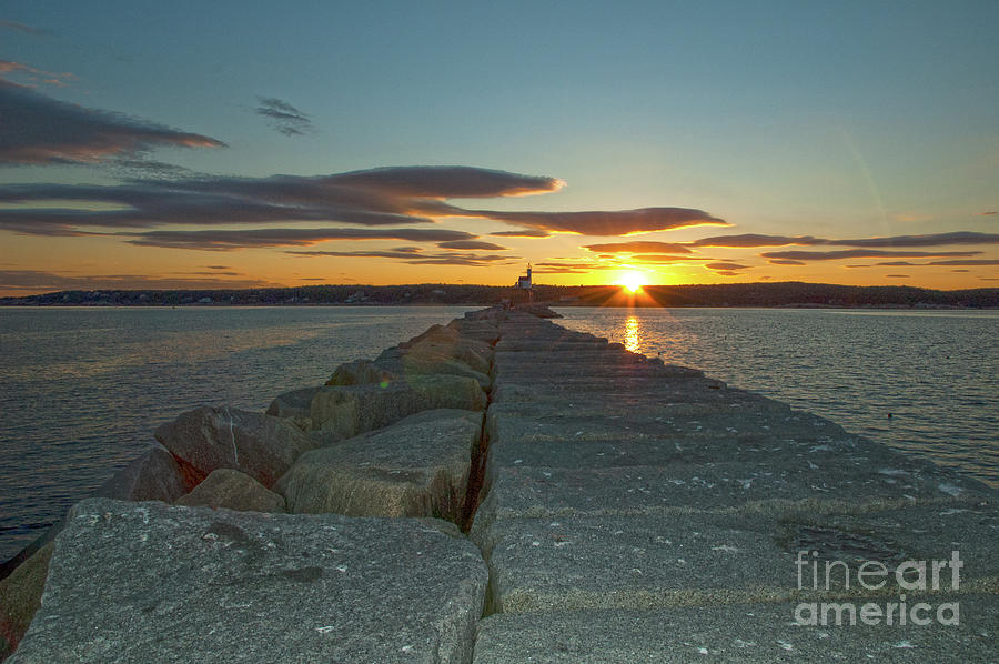 Sunset Seawall by Ruth H Curtis