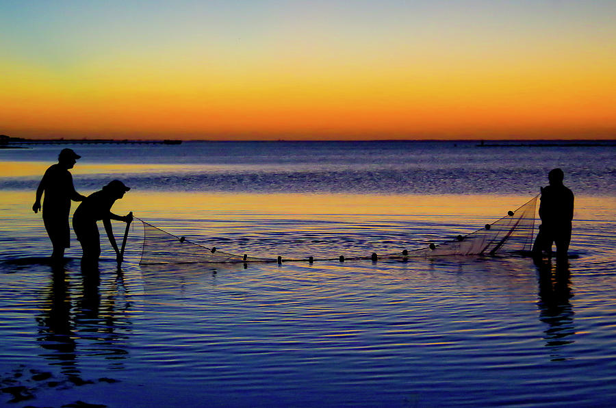 Sunset Seining on Copano Bay by Adam Reinhart