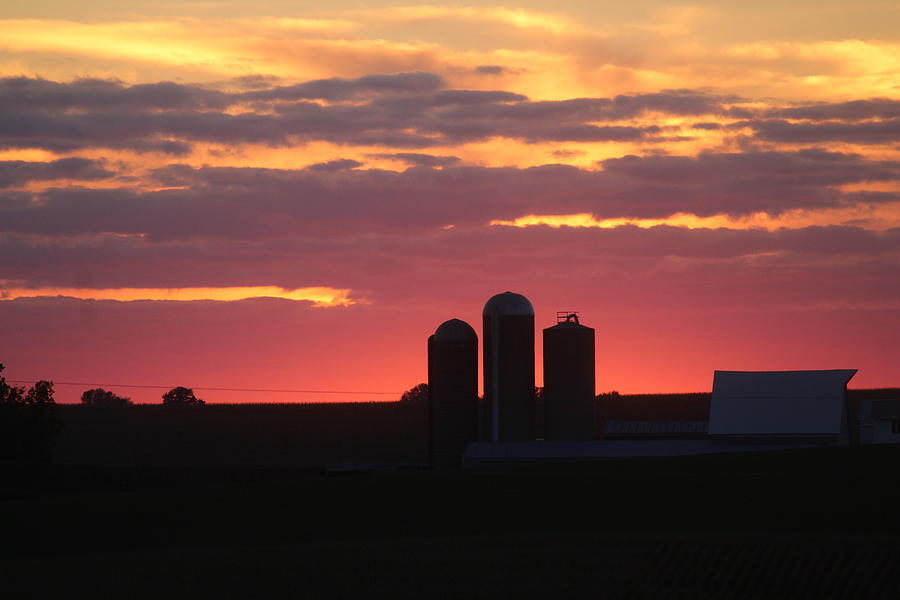Sunset Photograph - Sunset Silos by Callen Harty