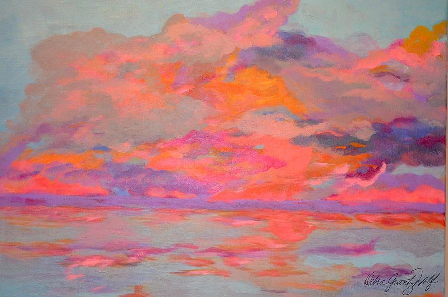 Sunset Brilliance Painting by Debra Grantz Wolf