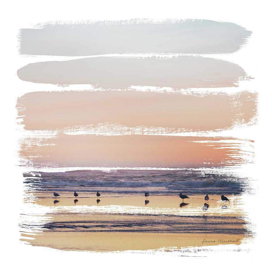 Beaches Painting - Sunset Stripes II by Laura Marshall