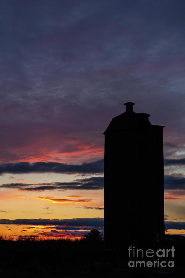 Sunset Surrounds Silo Silhouette by Amfmgirl Photography