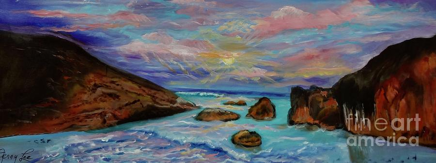 Beach Painting - Sunset Tropical  by Jenny Lee
