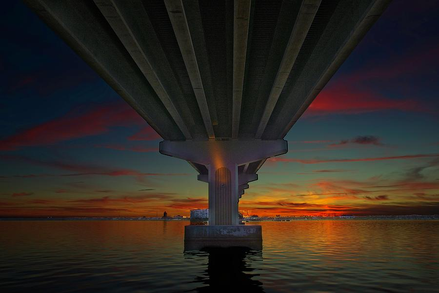 Sunset Under the Bridge by Roy Thoman