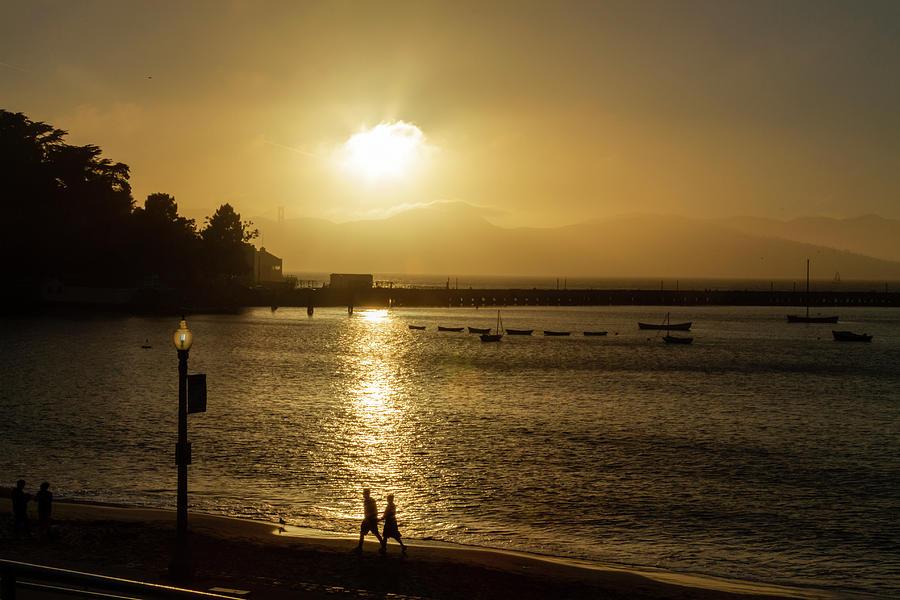 Sunset Walk at Aquatic Park by Bonnie Follett