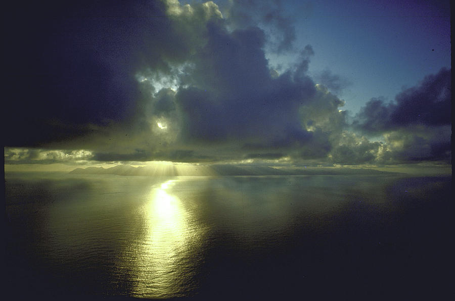 Outdoors Photograph - Sunset With Island Of Dominica Visible O by John Dominis