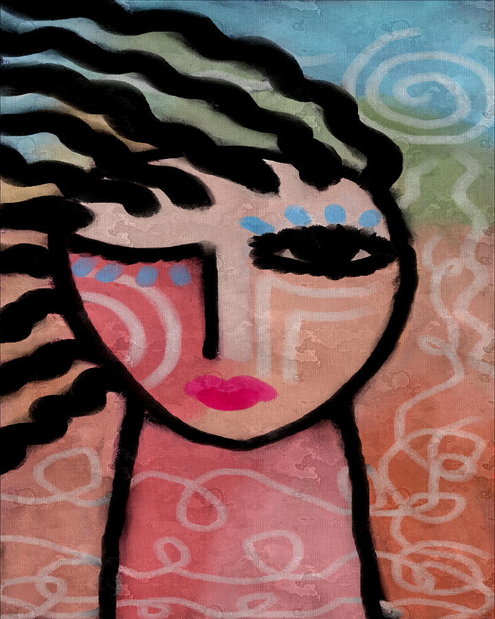 Abstract Portrait Painting - Sunshine Abstract Portrait Of A Woman by Jackie Ludtke
