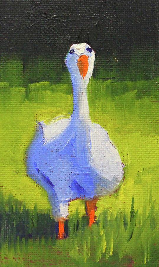 White Goose Painting - Sunshine Goose by Nancy Merkle