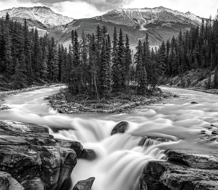 Sunwapta falls B and W 16 x 14 by Pierre Leclerc Photography