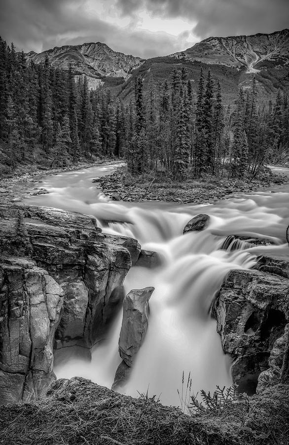 Sunwapta Falls Black And White by Dan Sproul