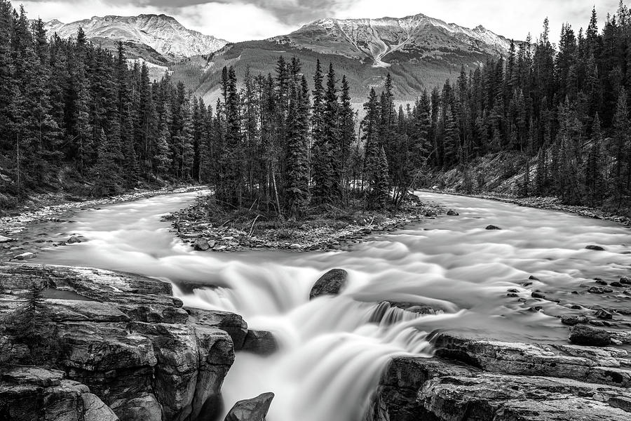 Sunwapta Falls in Black and White by Pierre Leclerc Photography