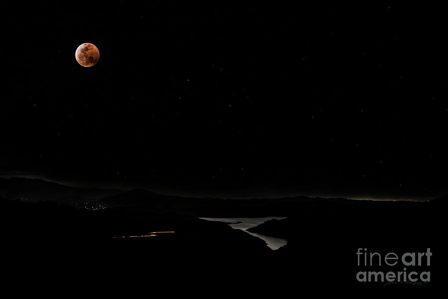 Super Blood Wolf Moon Eclipse Over Lake Casitas at Ventura County, California by John A Rodriguez