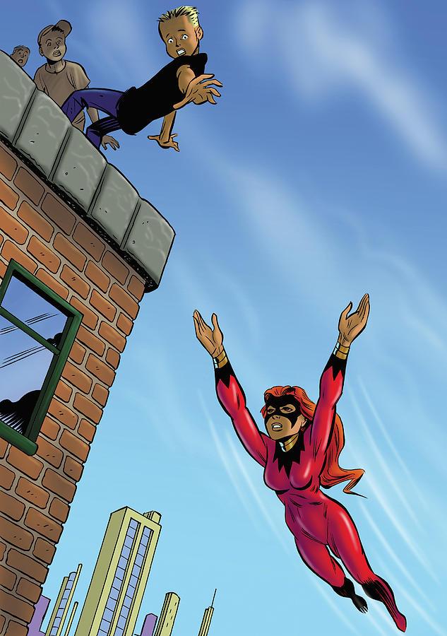 Super Heroine Rescuing Boy Digital Art by Peter Richardson