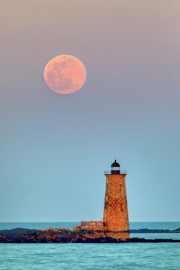 Super Worm Moon and Whaleback Light by Juergen Roth