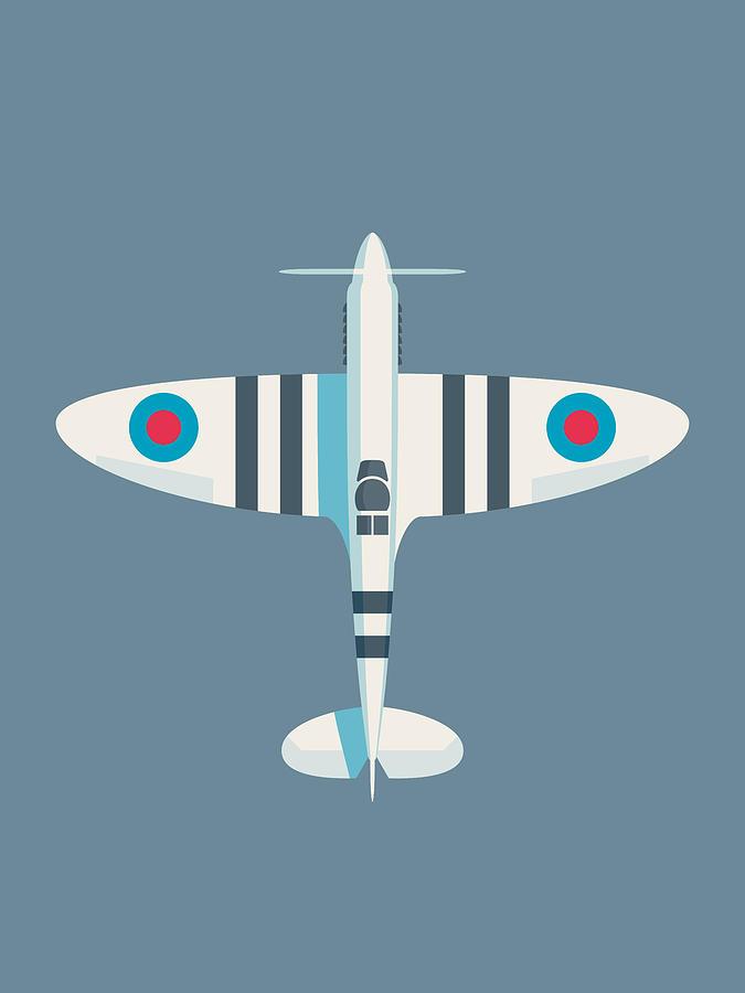 Spitfire Digital Art - Supermarine Spitfire Fighter Aircraft - Stripe Slate by Ivan Krpan
