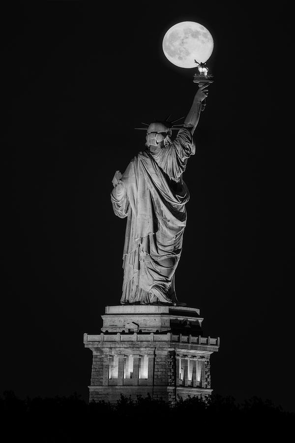 Supermoon Statue Of Liberty BW by Susan Candelario