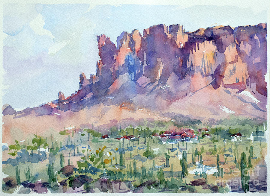 Mountains Painting - Superstition mountains  by Igal Kogan