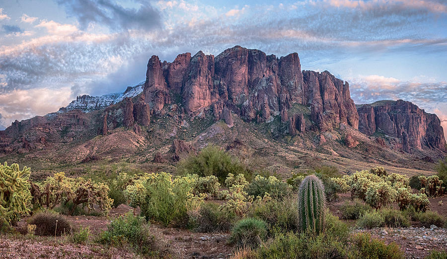 Superstition Mountains Snow background by Dave Dilli