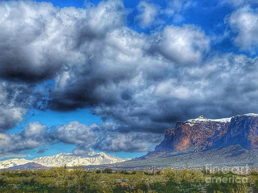 Superstitions with Four Peaks in background by Pamela Walrath