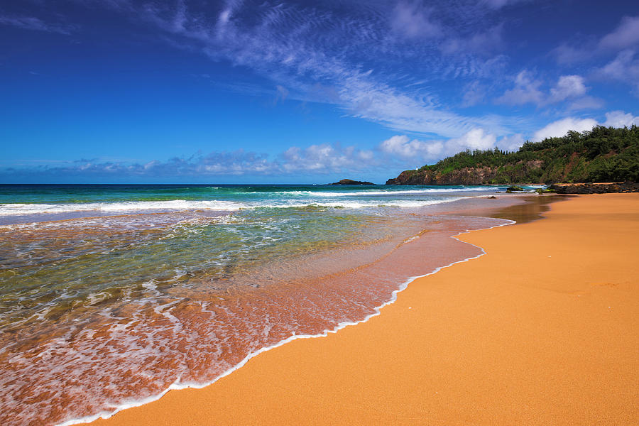 Afternoon Photograph - Surf And Sand On Secret Beach (kauapea by Russ Bishop
