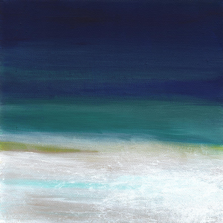 Abstract Painting - Surf and Sky- abstract beach painting by Linda Woods