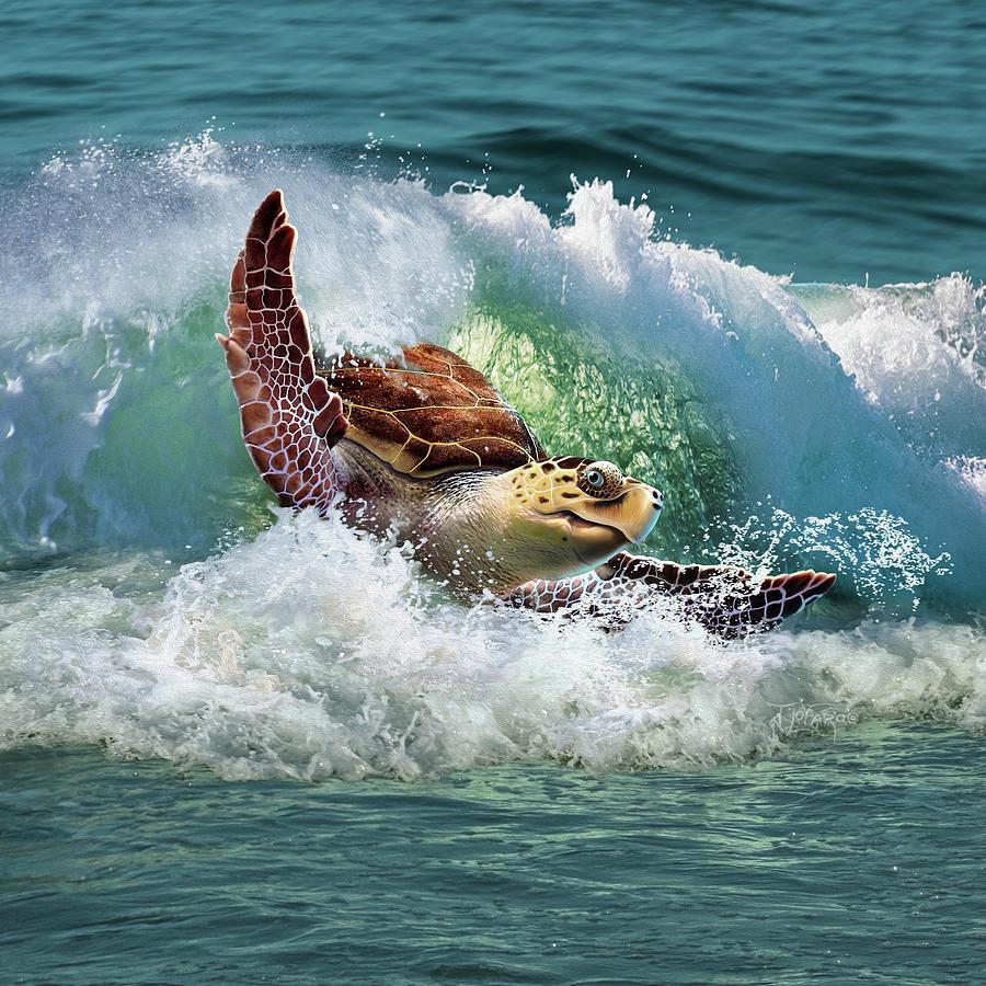 Sea Turtle Digital Art - Surf To The Turf by Jerry LoFaro