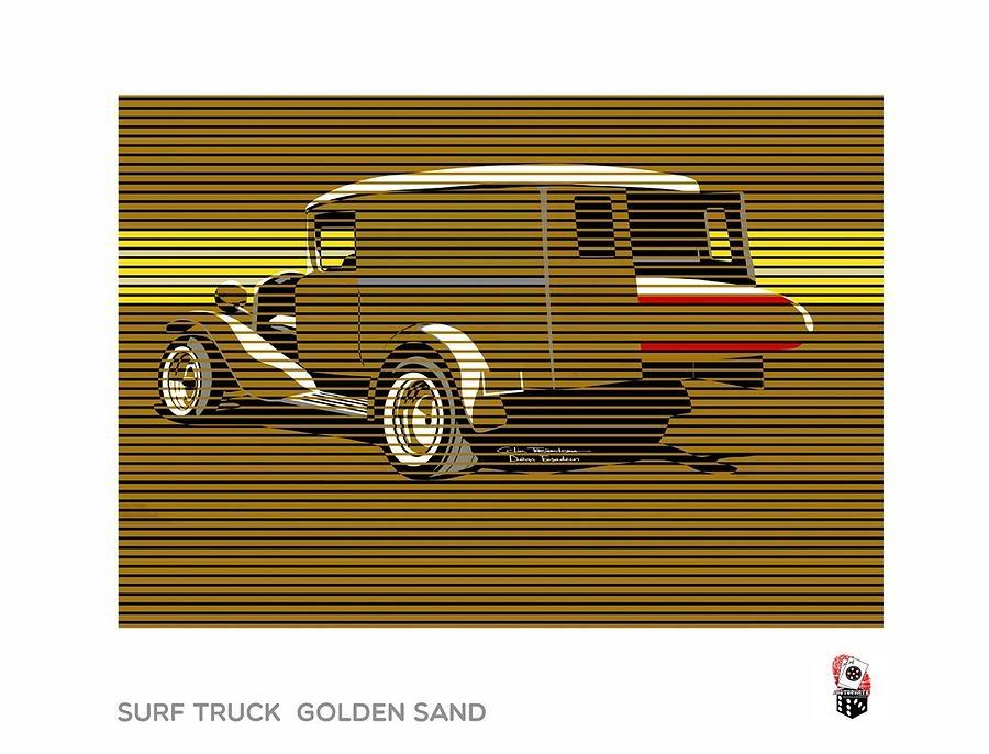 Surf Truck Golden Sand Digital Art