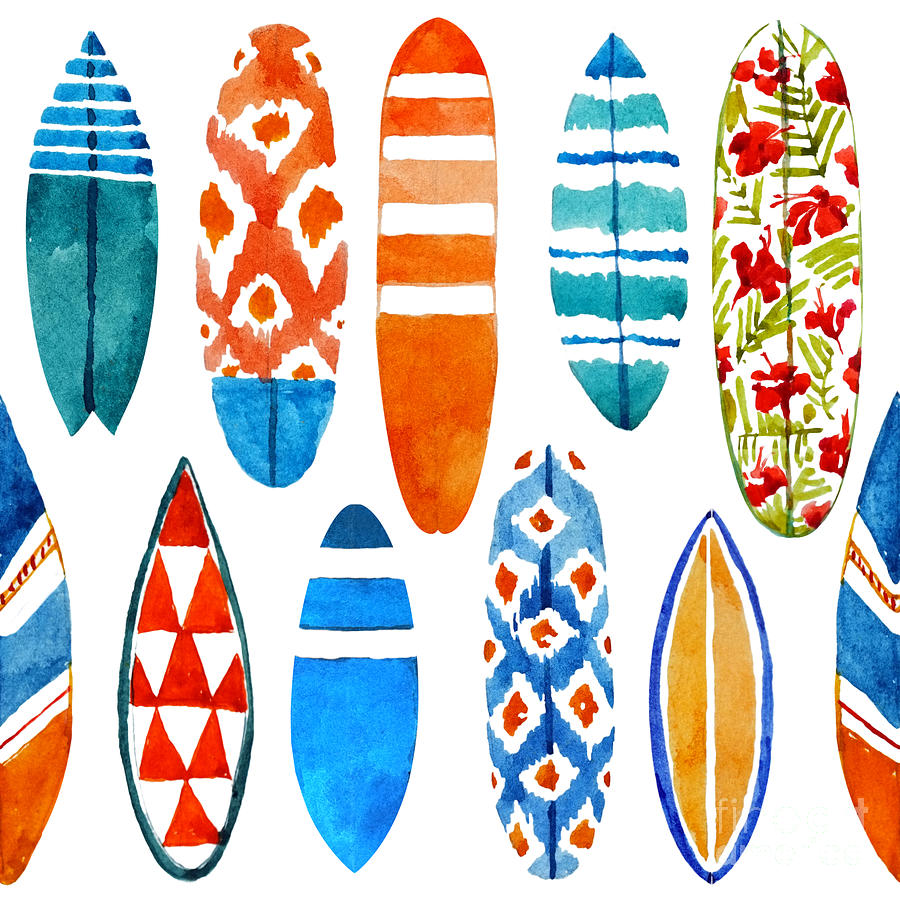 Skateboard Digital Art - Surfboard Watercolor Seamless Pattern by Nicetoseeya