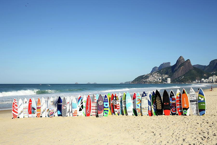 Surfboards On Beach Photograph by Joe Scarnici