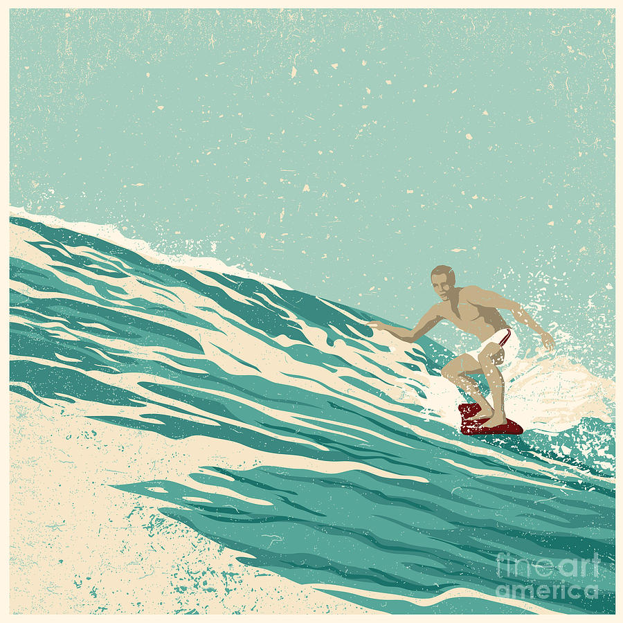 Big Digital Art - Surfer And Big Wave Vector by Jumpingsack
