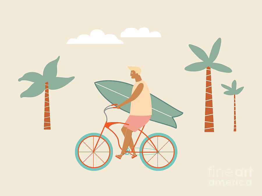 Bicycle Digital Art - Surfer Bicycle Rider With Surfboard On by Nicetoseeya