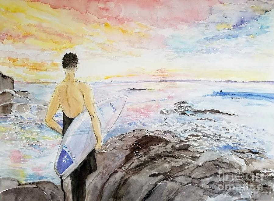 Modern Watercolor Painting - Surfer by the Ocean by AQQ Studio