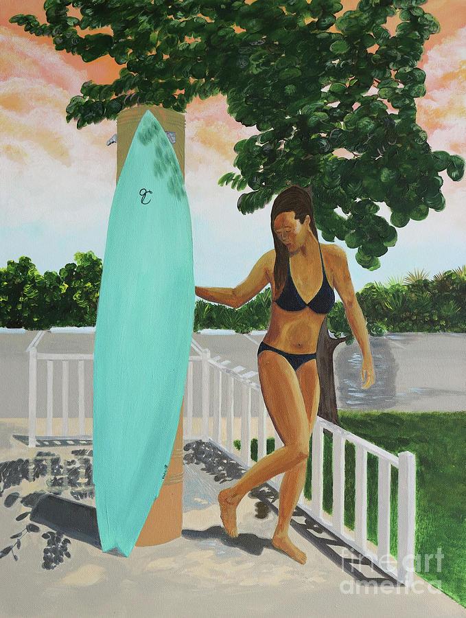 Surfer Girl Beach Shower by Jenn C Lindquist